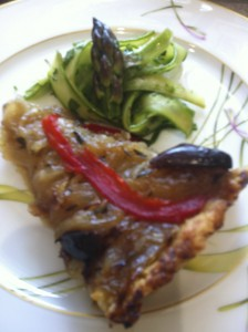 Caramelized Onion Tart with Shaved Asparagus Salad