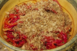 Roasted Red Pepper with Anchovy Breadcrumbs