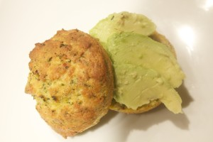 Savory Salmon-Coconut Muffins with Slice Avocado